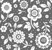 Bloemen en takjes, donkergrijze achtergrond, naadloos, decoratief, vector Stock Afbeeldingen