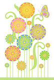 Bloemen en vlinder Royalty-vrije Stock Afbeelding