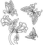 Bloemen en vlinder Stock Afbeeldingen