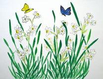 Bloemen en vlinder Royalty-vrije Stock Afbeeldingen