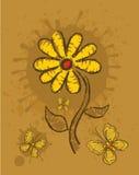Bloemen en vlinder Stock Afbeelding