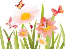 Bloemen en vlinder binnen   Stock Afbeelding