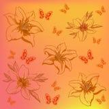 Bloemen en vlinders Stock Foto