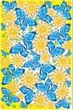 Bloemen en vlinders Stock Illustratie