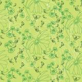 Bloemen en vlinders in groen royalty-vrije illustratie