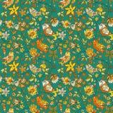 Bloemen en vogels naadloos textuurpatroon Stock Foto's