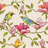 Bloemen en Vogelsachtergrond Royalty-vrije Stock Afbeeldingen