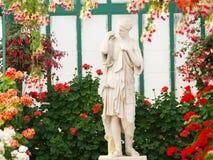 Bloemen en vrouwelijk standbeeld Stock Foto