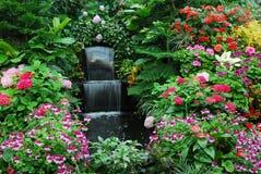 Bloemen en waterval in garde Royalty-vrije Stock Foto