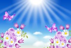 Bloemen en zon stock illustratie