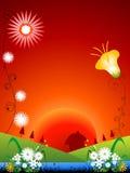 Bloemen en zonsopgang stock afbeelding