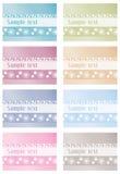 Bloemen etiketten in kleuren Stock Foto's