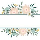 Bloemen frame De uitstekende dekking van het bloemboeket Bloei kaart Royalty-vrije Stock Foto's