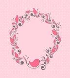Bloemen frame met vogel vector illustratie