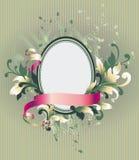 Bloemen frame op behang royalty-vrije illustratie