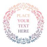 Bloemen frame voor uw tekst De leuke bloemen, de vogels enz. schikten in een vorm van de kroon voor huwelijk, verjaardagsuitnodig royalty-vrije illustratie