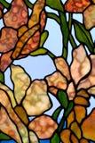 Bloemen gebrandschilderd glaspaneel stock fotografie