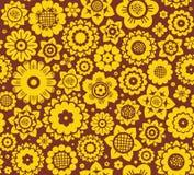 Bloemen, geel-bruine achtergrond, naadloos, vector Royalty-vrije Stock Foto's