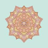 Bloemen gekleurde mandala van krabbelboho Vector illustratie Stock Foto's