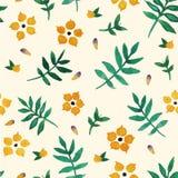 Bloemen gele waterverf Stock Afbeelding