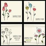 Bloemen geplaatste kaarten Stock Foto's
