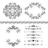 Bloemen geplaatste ontwerpelementen, sier uitstekende grens, kaders en verdelers Stock Afbeelding