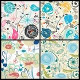 Bloemen geplaatste patronen stock illustratie