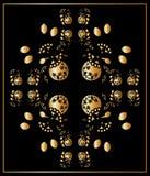Bloemen goud en blackl kaart, ornament Stock Foto's