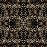 Bloemen gouden barok naadloos patroon Vector uitstekende zwarte backg Stock Afbeelding
