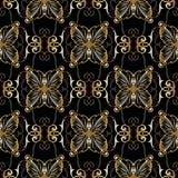 Bloemen gouden barok naadloos patroon Vector uitstekende zwarte backg Stock Afbeeldingen