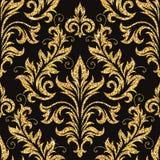 Bloemen gouden behang Stock Afbeelding