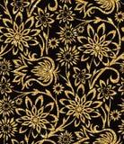 Bloemen gouden behang Stock Foto