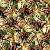 Bloemen gouden 3d vector Grieks naadloos patroon Stock Fotografie