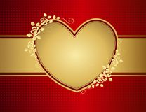 Bloemen gouden liefdehart Royalty-vrije Stock Foto