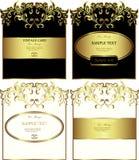 Bloemen gouden-ontworpen etiketten vectorreeks Stock Foto