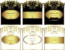 Bloemen gouden-ontworpen etiketten vectorreeks Royalty-vrije Stock Afbeelding
