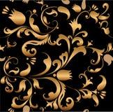 Bloemen gouden patroon Royalty-vrije Stock Afbeelding