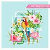 Bloemen Grafisch Ontwerp - Tropische Bloemen en Vogel - voor t-shirt Stock Afbeeldingen