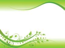 Bloemen grens in groen Royalty-vrije Stock Afbeelding