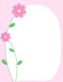 Bloemen grens - roze stock illustratie