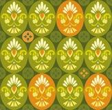 Bloemen groen patroon in ovalen en cirkels Stock Foto's