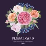 Bloemen groetkaart Boeket van waterverfrozen, pioenen, zwarte lijsterbessenbessen Royalty-vrije Stock Afbeelding