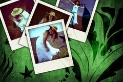 Bloemen grungeachtergrond met oude onmiddellijke foto's Royalty-vrije Stock Afbeeldingen
