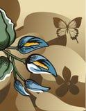 Bloemen halftone achtergrond Stock Afbeeldingen
