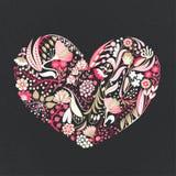 Bloemen Hart Hand getrokken creatieve bloemen romaans Kleurrijke artistieke achtergrond met bloesem Abstract kruid stock illustratie