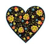 Bloemen hart met traditioneel Russisch patroon Stock Fotografie