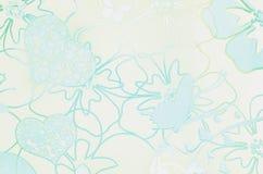 Bloemen, harten, vlinder over purpere achtergrond hologram Stock Afbeeldingen