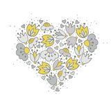 Bloemen in hartvorm Stock Afbeelding