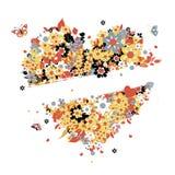 Bloemen hartvorm voor uw ontwerp Stock Afbeelding