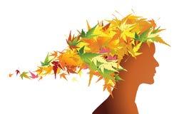 Bloemen het meisjessilhouet van de herfst Royalty-vrije Stock Foto's